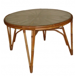 Verdi Table diametre 120 vintage en rotin